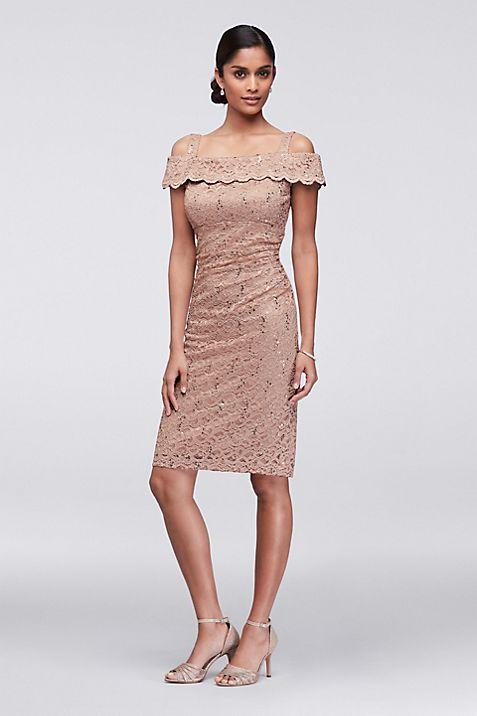 Cold-Shoulder Sequined Lace Cocktail Dress | David\'s Bridal
