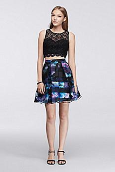 Lace and Organza Crop Top Skirt Set 8967QA1P
