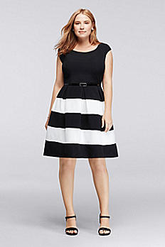 Crepe Short Sleeve Striped Work Dress with Belt 897298