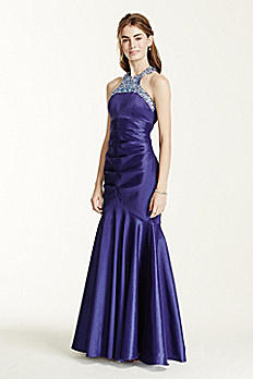 Heavily Encrusted Halter Neck Fit and Flare Dress 8977QP6C