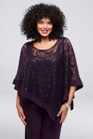 Sequin Lace Plus Size Pantsuit With Sheer Capelet David
