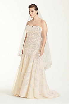 Oleg Cassini Lace Trumpet Beaded Wedding Dress 8CMB619