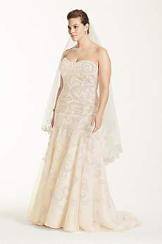 Long Mermaid/ Trumpet Beach Wedding Dress - Oleg Cassini