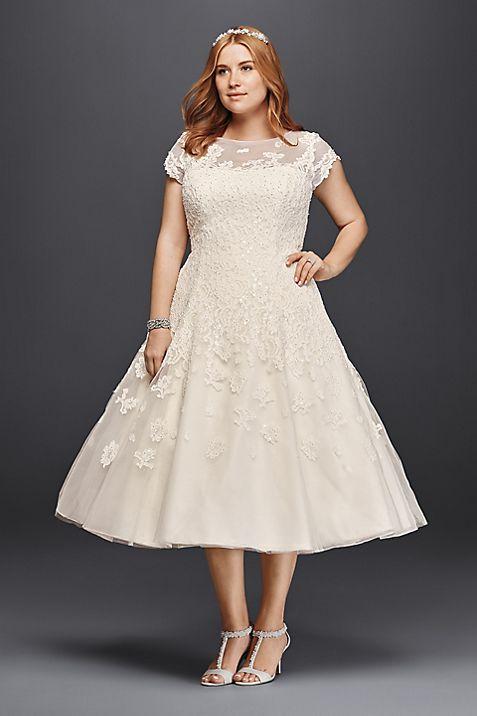Oleg Cassini Cap Sleeve Tea Length Wedding Dress   David\'s Bridal