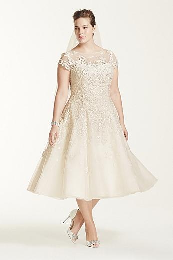 Oleg Cassini Cap Sleeve Illusion Wedding Dress 8CMK513