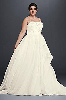 Floral Organza Plus Size A-Line Wedding Dress 8CR341603