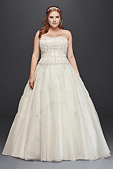 Oleg Cassini Satin and Organza Wedding Dress 8CT258