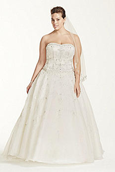 Oleg Cassini Satin and Organza Wedding Dress 8CT258