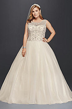 Oleg Cassini Plus Size Beaded Wedding Ball Gown 8CV745