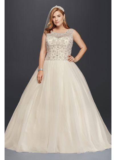 Oleg Cassini Plus Size Beaded Bodice Wedding Dress | David\'s Bridal