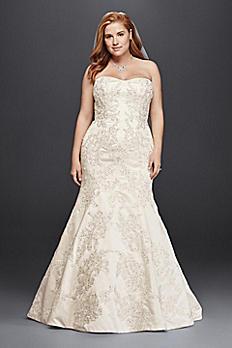 Oleg Cassini Satin Trumpet Wedding Dress with Lace 8CWG594