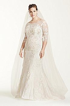 Oleg Cassini 3/4 Sleeve Lace Trumpet Wedding Dress 8CWG638