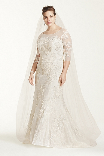 3/4 Sleeve Lace Trumpet Gown 8CWG638