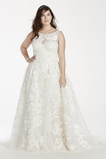 Oleg Cassini Tank Lace Wedding Dress with Beads 8CWG658
