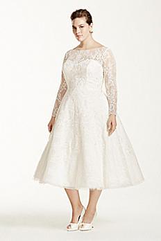 Oleg Cassini Long Sleeved Tea Length Wedding Dress 8CWG663