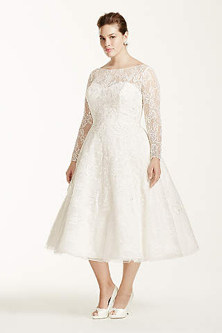 Plus size vintage wedding dresses tea length
