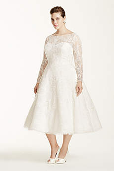 Oleg Cassini Long Sleeved Tea Length Wedding Dress