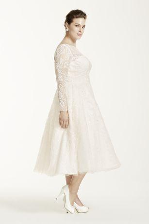 Oleg cassini long sleeved tea length wedding dress david for Oleg cassini wedding dress tea length