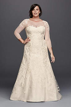 Long Mermaid/ Trumpet 3/4 Sleeves Dress - Oleg Cassini