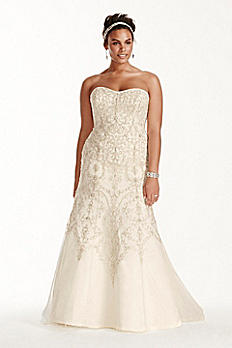 Oleg Cassini Tulle Beaded Mermaid Wedding Dress 8CWG706