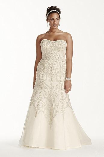 Oleg Cassini Tulle Beaded Mermaid Wedding Dress 8CWG706