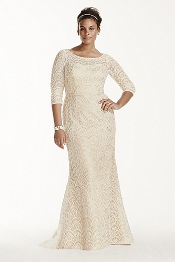 Oleg Cassini Beaded Lace 3/4 Sleeved Wedding Dress 8CWG711