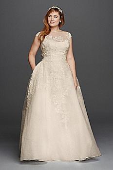 Oleg Cassini Off the Shoulder Wedding Dress 8CWG730