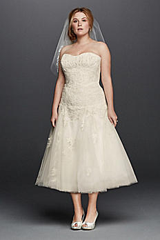 Oleg Cassini Tea Length Plus Size  Wedding Dress 8CWG743
