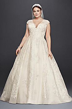 Oleg Cassini Plus Size Ball Gown Wedding Dress 8CWG748