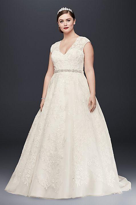 oleg cassini plus size ball gown wedding dress davids bridal