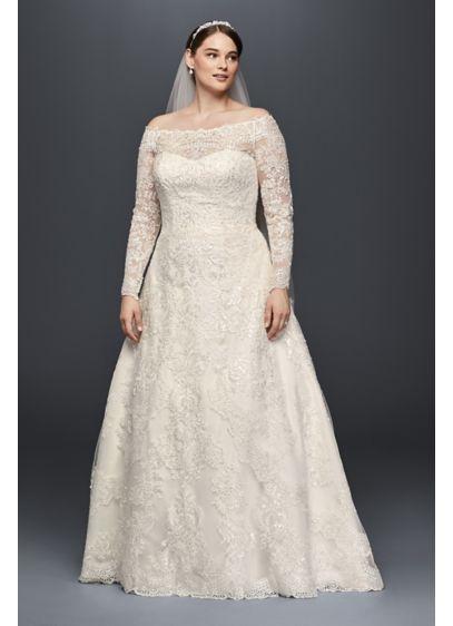 Off-The-Shoulder Plus Size Beaded Wedding Dress | David\'s Bridal