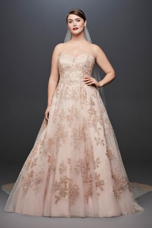Metallic lace plus size a line wedding dress david 39 s bridal for Blush and gold wedding dress