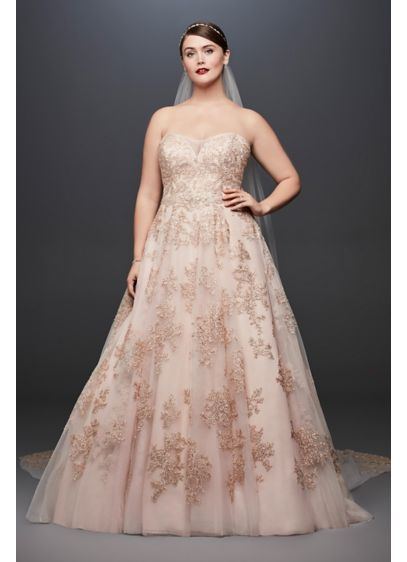 Metallic Lace Applique Plus Size Wedding Dress Davids Bridal - Plus Size Blush Wedding Dresses