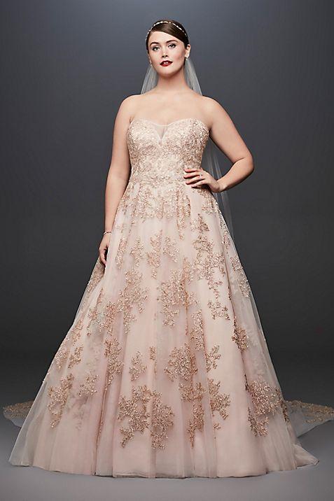 Metallic Lace Applique Plus Size Wedding Dress   David\'s Bridal
