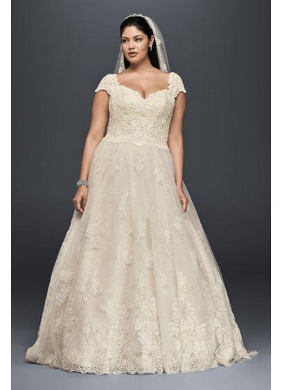 Cap sleeve plus size wedding dress with lace davids bridal long ballgown wedding dress oleg cassini junglespirit Gallery