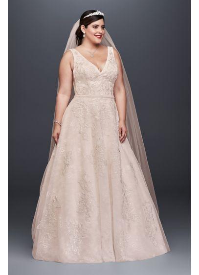 Appliqued Tulle-Over-Lace Plus Size Wedding Dress | David\'s Bridal