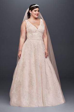Genial Long A Line Romantic Wedding Dress   Oleg Cassini