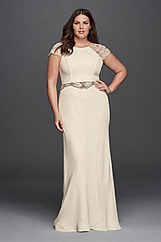 Plus Size Crepe Sheath Wedding Dress 8JP341608