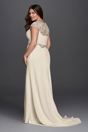 Plus Size Crepe Sheath Wedding Dress David S Bridal