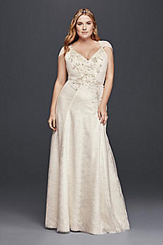 Plus Size Lace Sheath Wedding Dress with Flowers 8JP341703
