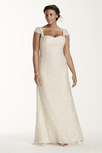 Lace Sheath with Beaded Cap Sleeves 8MS251122