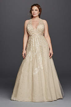 Champagne colored wedding dresses gowns david 39 s bridal for Plus size champagne colored wedding dresses