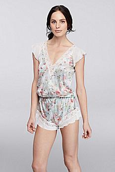 Lace Trim V-Neck Floral Romper 905402