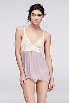 Fiorentina Colorblocked Lace and Mesh Babydoll 907468