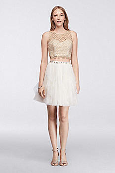 Homecoming Two Piece Crop Top and Layered Skirt 9170RZ8P