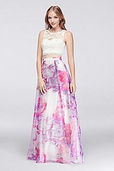 Lace Crop Top and Printed Organza Skirt Set 9223QA8S