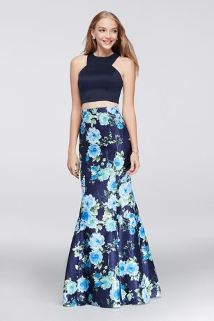 Crop Top And Floral Mermaid Two Piece Dress David S Bridal