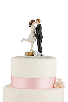 Personalized A Kiss And We're Off Cake Topper 9318