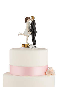 Personalized A Kiss And We're Off Cake Topper