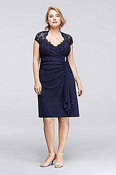 Plus Size Dress with Glitter Lace Cap Sleeves 944664